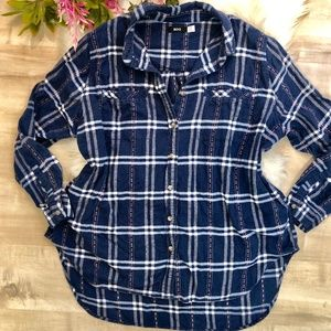 BDG Urban Outfitters Blue Plaid Button Down Sz MD